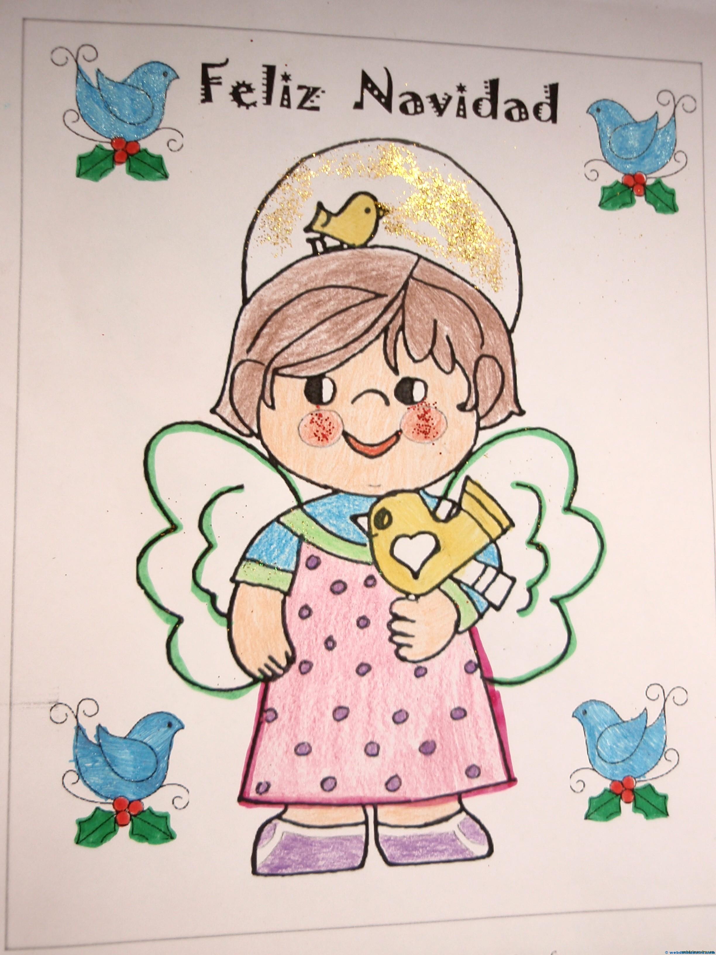 Navidad para colorear: ángel con pajaritos. - Web del maestro