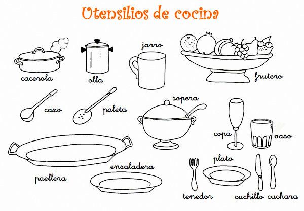 Dibujos para colorear de utensilios de cocina web del for Utensilios y materiales de una cocina de restaurante