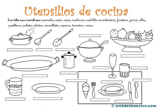 Utensilios de cocina actividades 2 web del maestro for Cocinar en frances