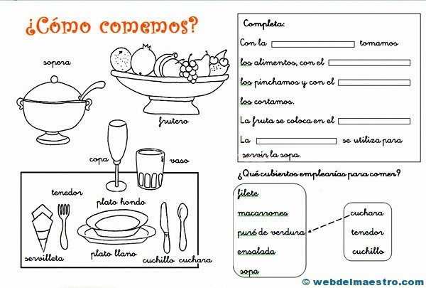 Utensilios de cocina actividades web del maestro for Objetos para cocinar