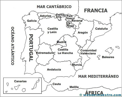Mapa Mudo Comunidades Autonomas España Para Imprimir.Mapa Politico Web Del Maestro