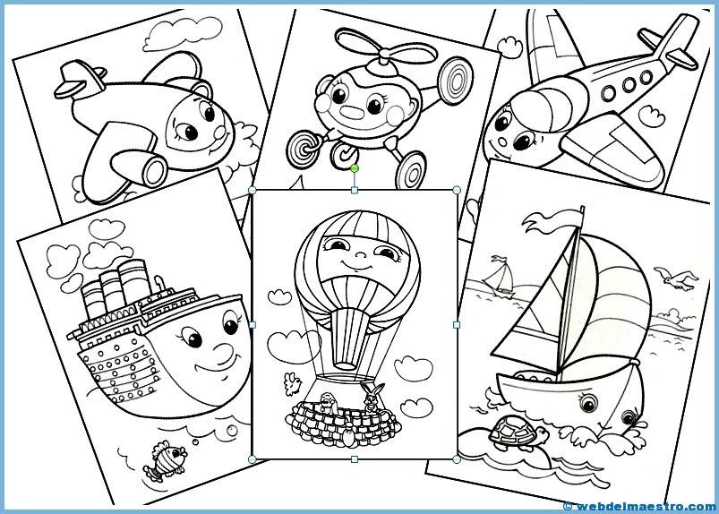 Transportes Por Tierra Para Colorear: Dibujos Infantiles Para Colorear (Medios De Transporte