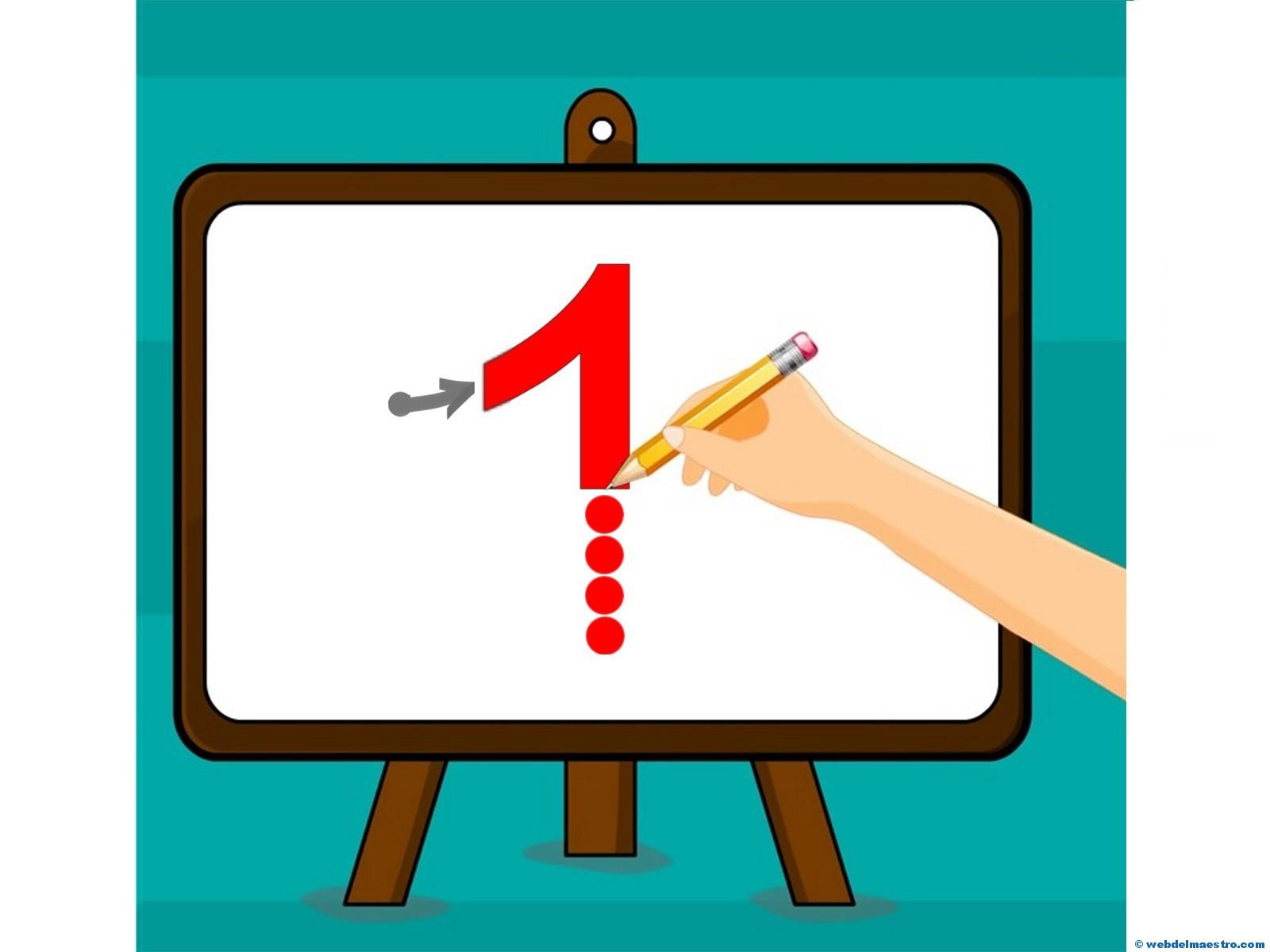 Cómo enseñar el número 1 - Trazo del número 1 - Web del maestro