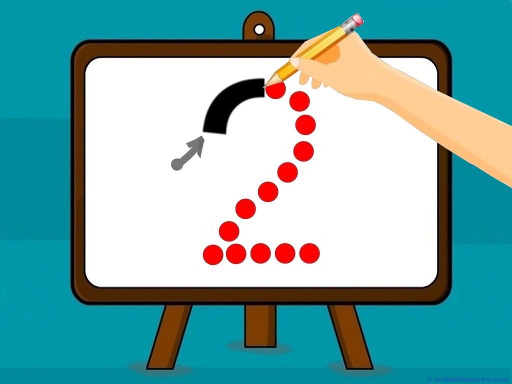 Cómo enseñar el número 2 - Trazo del número 2 - Web del maestro