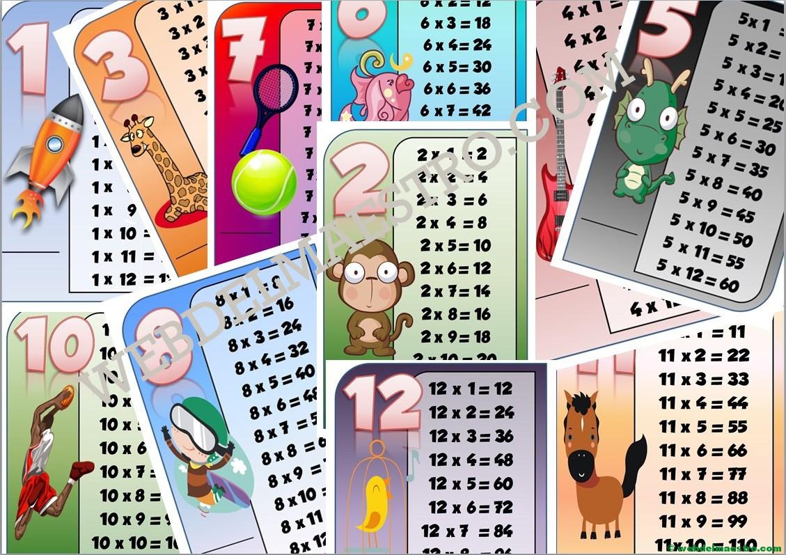 Tablas de multiplicar PARA IMPRIMIR Y JUGAR-