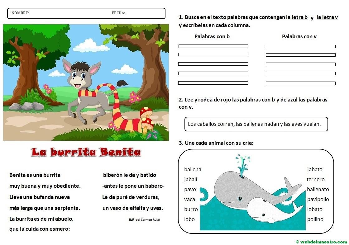 Lecturas infantiles | Letras b-v - Web del maestro