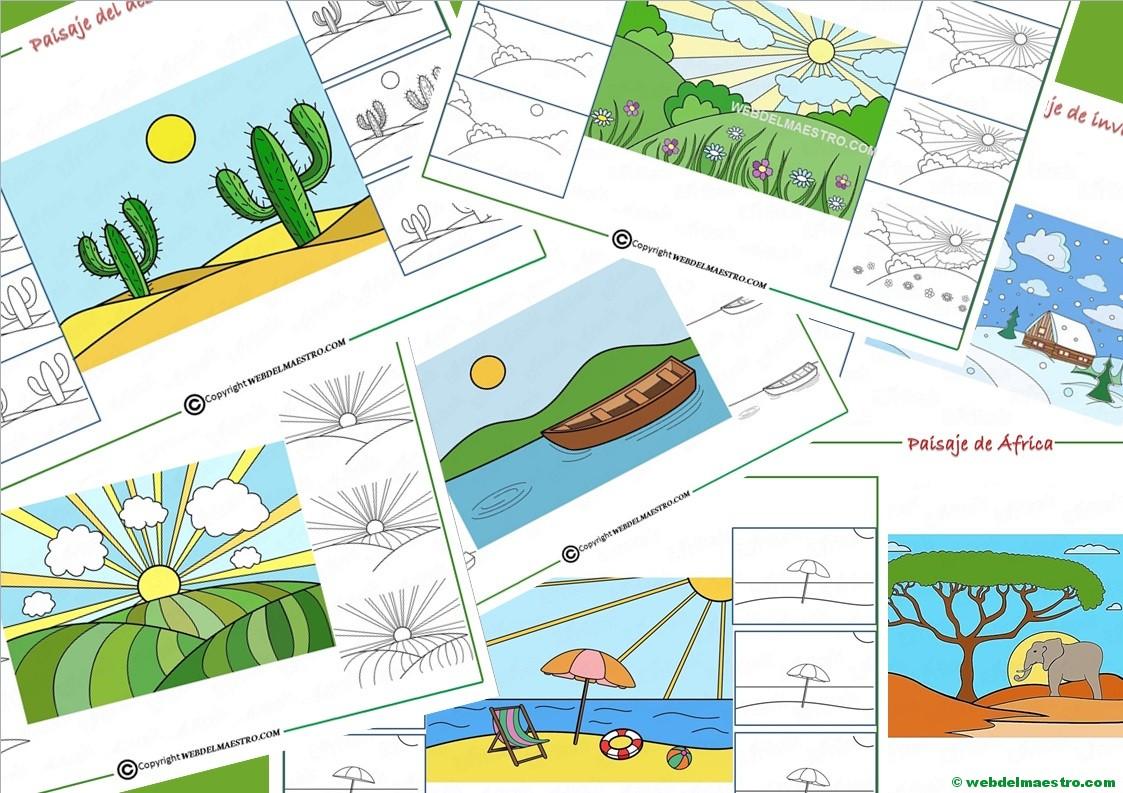 Cómo Dibujar Un Paisaje Para Niños Web Del Maestro