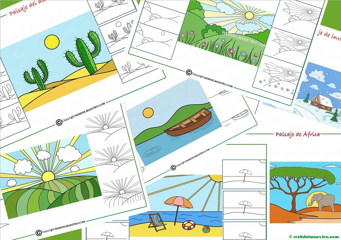 Cómo Dibujar Un Paisaje Para Niños