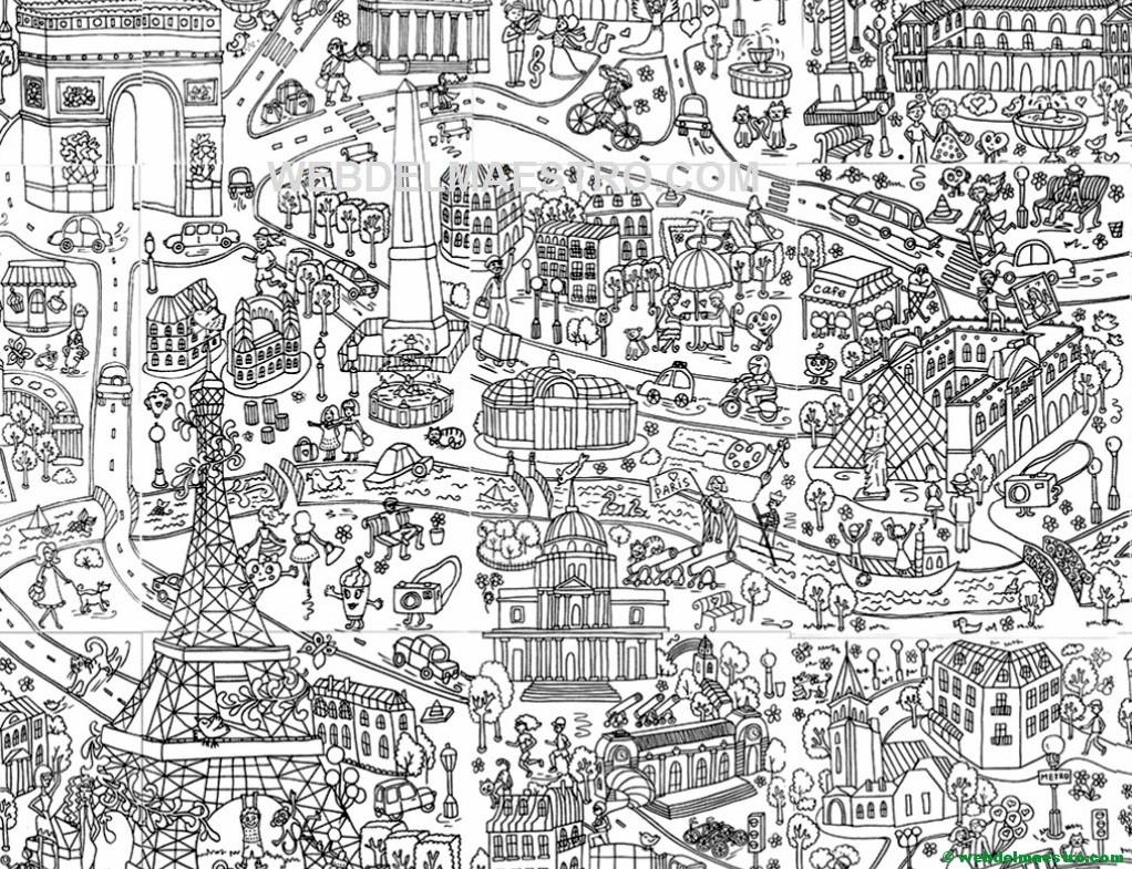 Poster gigante para colorear de Paris gratis