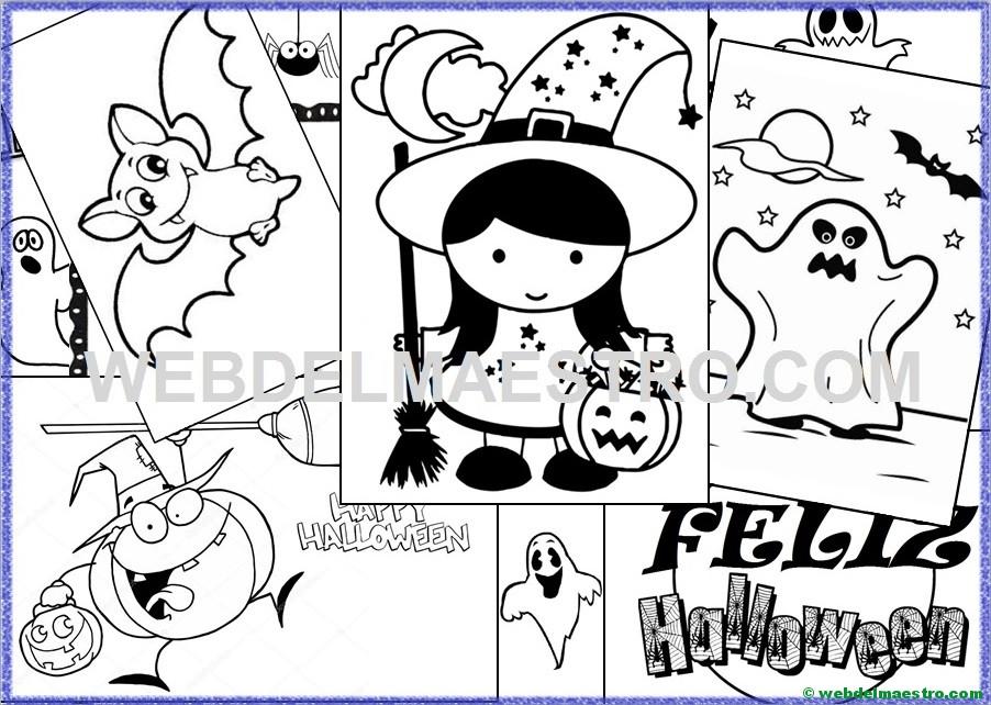 Arañas De Halloween Para Colorear: Dibujos Halloween Para Colorear