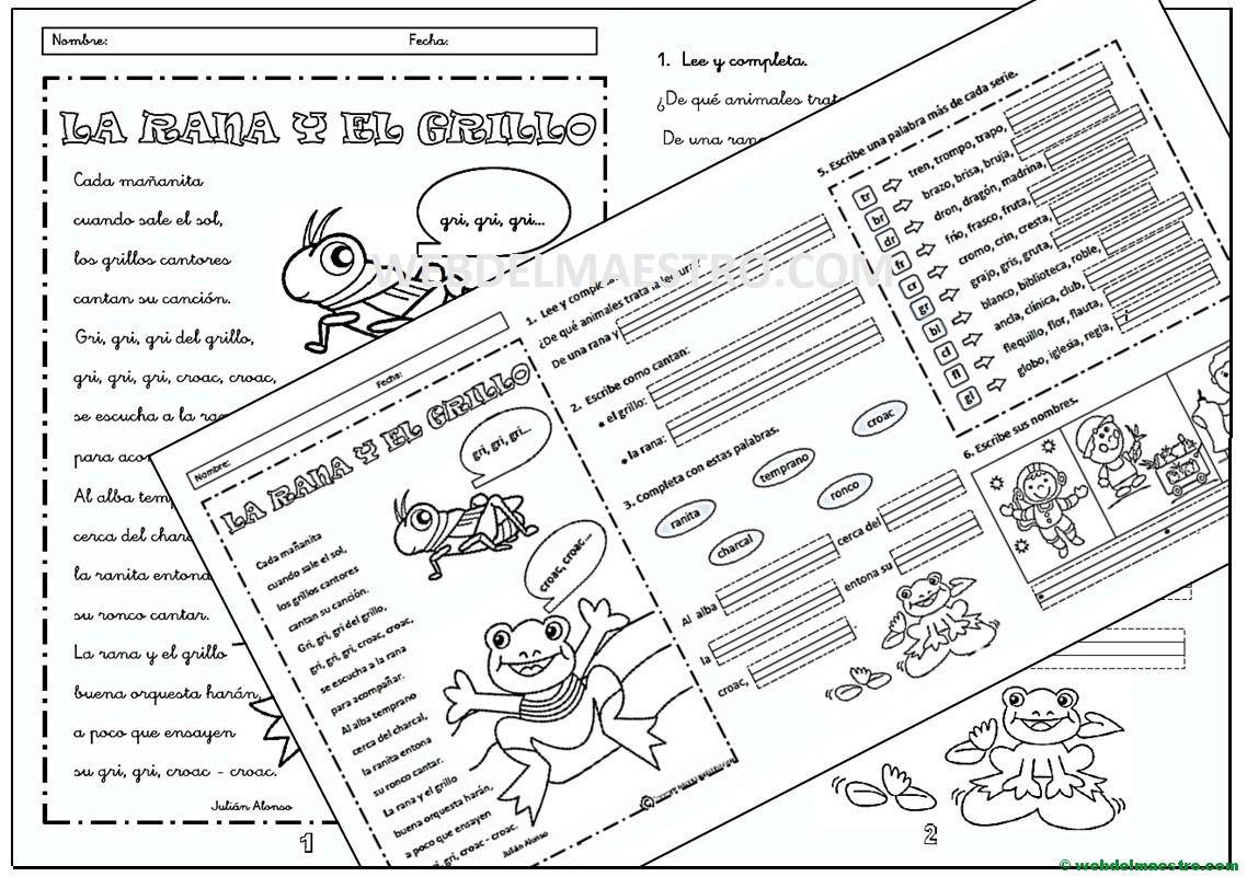 Fichas de lectoescritura-Silabas trabadas