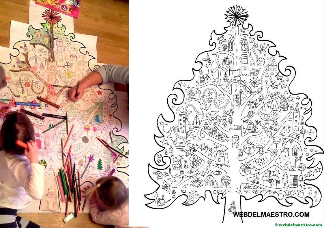 arbol de Navidad para colorear tamaño póster
