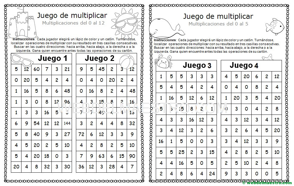 Juegos de multiplicar